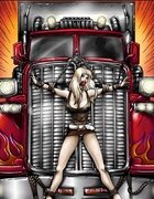 Bdsm art toons. Truck driver captured sexy girls in his truck and use