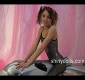 Young 18 teen porn. Horny Lola in spandex suit riding inflatable toy.