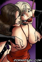 Bdsm cartoons. Sexy girl and her boyfriend captured by perverted couple as sex toys!