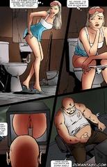Fetish cartoons. Poor girls is captured on her stop to pee!