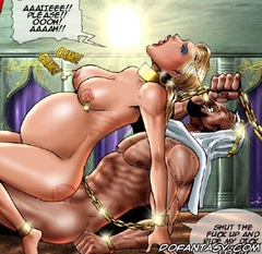 Slave girl comics. Your new master is gonna teach you what a real pussy fuck is!