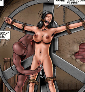 Bdsm art toons. Torturers bound their slave to metal wheel!