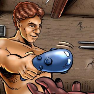 Humiliation comics. Tied slave gir gets twisted on metal wheel!