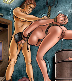Submission. Slave girl was hanged to the ceiling!