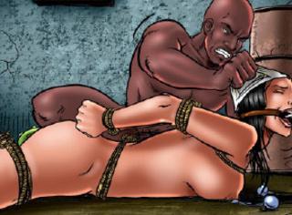 Adult bondage comics. Busty slave fucked by black torturer!