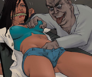 Adult bondage comics. A horny midget captured youn sexy doctor!
