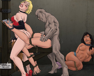 Sado cartoons. Poor slave girl fucked by enormous dick and forced to lick her Mestress's pussy!