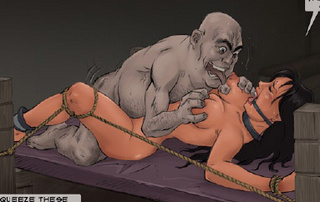 Submission art. Girl tied spread-eagle on the bed and gets fucked!