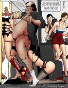 Slave girl comics. Master fucks his slaves right in a shopping mall!