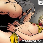 Horror comics. Old pervert stick his fingers in tied girl's pussy!
