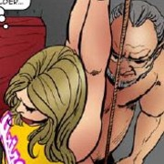 Bdsm comics. Tied blonde cheerleader forced to sit on huge dildo!