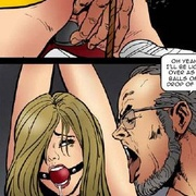 Bdsm comics. Tied blonde cheerleader forced to sit on huge dildo!
