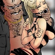Bondage comics. Cruel master inserts a long toy into his slave girl's ass!