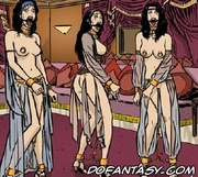 Bdsm art toons. White slaves in harem satisfies rich arabian men!