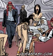 Horror comics. Busy white slaves serve their masters on the airplane!