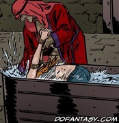 Horror comics. Her arabian master tortures her by the water!