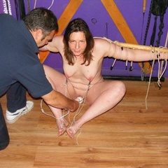 Wives in padlocked chains, leashed for him - Unique Bondage - Pic 6