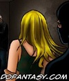 Sado cartoons. Tied and blindfolded girl gets…