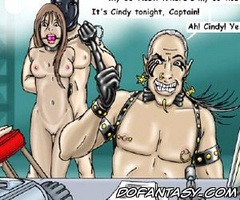Sado cartoons. This is our new slave for tonight, Captain!