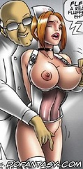 Slave comics. Three busty nurse doing blowjob and licking balls patient!