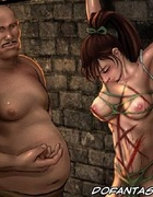 Sado cartoons. Two men tied up and tortured innocent women their.