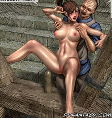 Bondage art. Honey girl hitched to the bells tits and pussy.