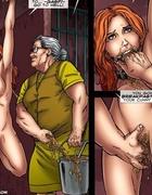 Poor hanged upside down blonde hottie forced to…