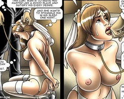 Leashed busty slave bride gets her - BDSM Art Collection - Pic 5
