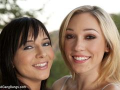 Two hot girls get taken down, zip tied, ball - Unique Bondage - Pic 1