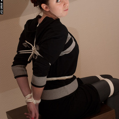 Jill tied tight and cleavegagged - Unique Bondage - Pic 2