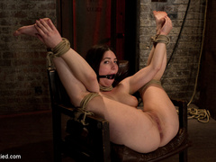Tiny 5'0 100lb girl with mouth spread open - Unique Bondage - Pic 1