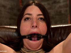 Tiny 5'0 100lb girl with mouth spread open - Unique Bondage - Pic 5
