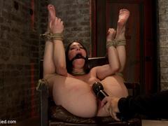Tiny 5'0 100lb girl with mouth spread open - Unique Bondage - Pic 10