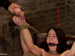 Tiny 5'0 100lb girl with mouth spread open - Unique Bondage - Pic 12