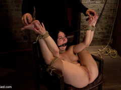 Tiny 5'0 100lb girl with mouth spread open - Unique Bondage - Pic 13