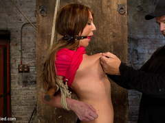 The sexy Amy Brooke .  Elbows bound, pulled - Unique Bondage - Pic 13