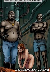 Slave girl comics. In a colony of prisoners brought a new product, naked busty chicks.