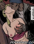 Adult bondage comics. Bad guy tore the girl's blouse, and there seemed