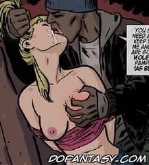 Adult bondage comics. Bad guy tore the girl's blouse, and there seemed huge breasts.