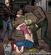 Slave girl comics. Defenseless girl lies on the chalkboard and around