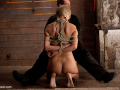 Beautiful blond Bombshell w/massive tits, is - Unique Bondage - Pic 1