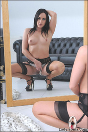Nylons and heels slim brunette milf - Unique Bondage - Pic 9