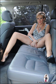 Milf lady sonia spreading in a car - Unique Bondage - Pic 2