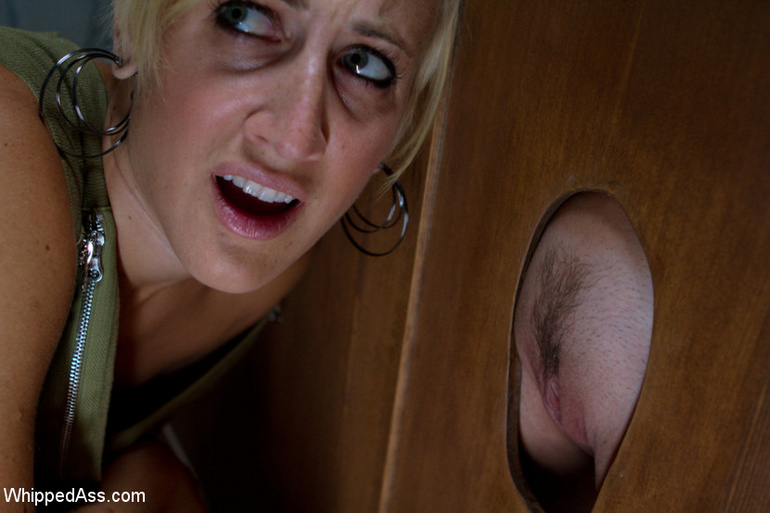 Curious blonde finds a pussy in a glory hole - Unique Bondage - Pic 2