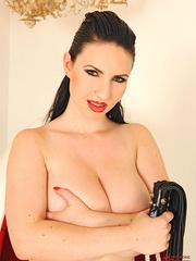 Hot busty babe Karina Heart dildoing pussy - Unique Bondage - Pic 16