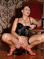 Horny latex brunette toying wild her tight - Unique Bondage - Pic 12