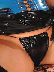 Busty brunette wearing a latex outfit - Unique Bondage - Pic 7