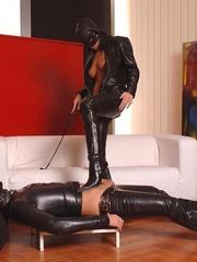 Latex clad Virginee and her male sex slave - Unique Bondage - Pic 1