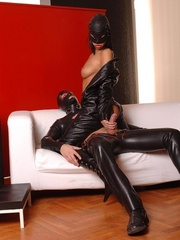 Latex clad Virginee and her male sex slave - Unique Bondage - Pic 11