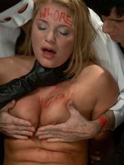 Tied up blonde slave chick gets her mouth - Unique Bondage - Pic 2